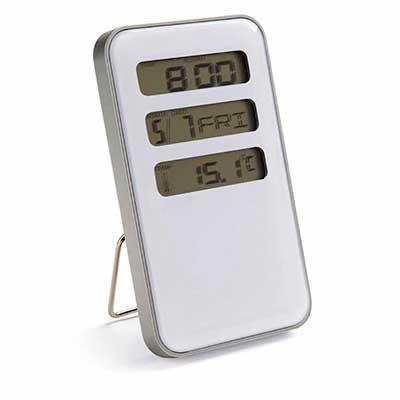 Relógio de mesa com calendário e termômetro. Acompanha pilha. - Amoriello Brindes Promocionais