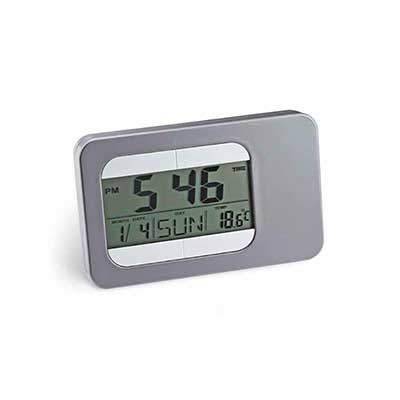 amoriello-brindes-promocionais - Relógio de mesa com calendário, alarme e indicador de temperatura. Tela de LCD.