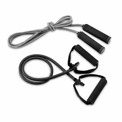 - Kit fitness com elástico e corda de pular. Fornecido com bolsa em 190T.