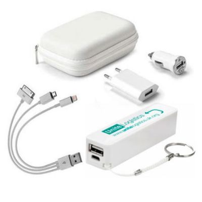 Kit carregador de celular personalizado - Amoriello Brindes Promocionais