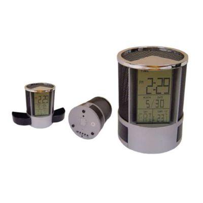 Amoriello Brindes Promocionais - Relógio de mesa com porta caneta e porta clips.