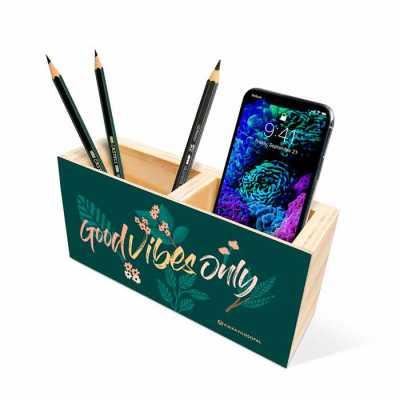 caixa-filosofal - Ele serve como porta-lápis, porta-canetas, porta-celular, porta-clips e etc.  Criamos o organizador de mesa com sua marca e mensagem. Entre em contato...