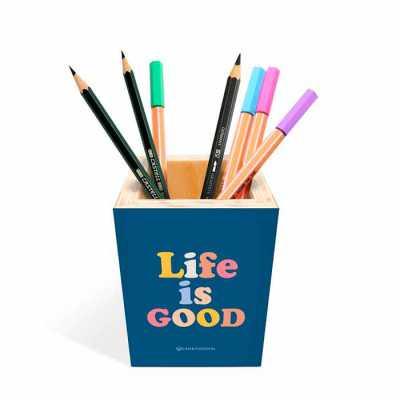 caixa-filosofal - Perfeito para deixar sobre a mesa o porta-lápis e porta-canetas são 100% personalizados com a mensagem que preferir e com seu logo.