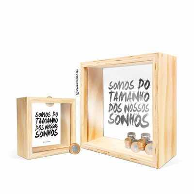 Caixa Filosofal - O Cofrinho é feito de madeira compensada de reflorestamento. Não é feito de MDF. No tamanho ideal para deixar sobre mesas e prateleiras. Cada quadro é...