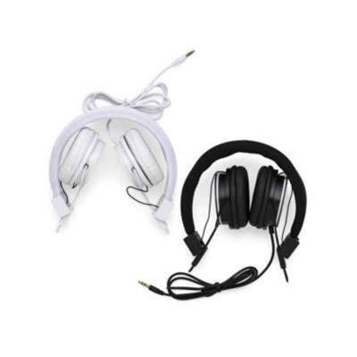 Vermont Brindes - Headfone personalizado estéreo com microfone, material em plástico resistente com haste(revestida de espuma) ajustável com fone giratório. Entrada P2,...