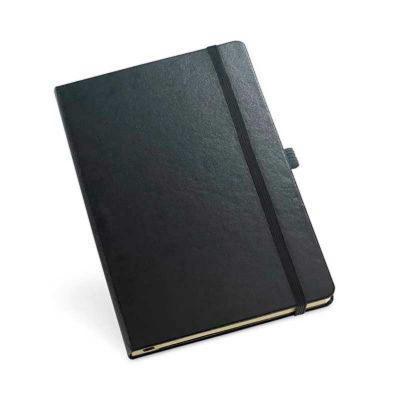 Smart Promocional - Bloco de anotações com capa dura, porta caneta, bolso interior e 80 folhas não pautadas. 137 x 210 mm