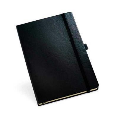 Smart Promocional - Caderno capa dura, couro sintético, com porta esferográfica e 80 folhas não pautadas.  140 x 210 mm