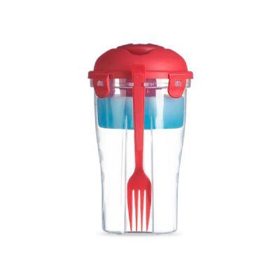 - Copo para salada. PP. Com garfo e molheira. Capacidade: 850 ml. Food grade. ø110 x 190 mm
