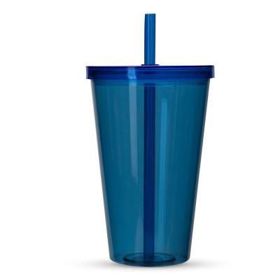 Smart Promocional - Copo plástico de 1 litro com tampa e canudo. Material plástico resistente translúcido, acompanha canudo rígido.  18,2 cm x 11,4 cm x 36 cm - Canudo 21...