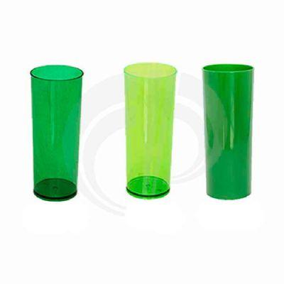 - Copo long drink injetado em PS cristal com capacidade de 300 ml, disponível em diversas cores, impresssão em silk 01 cor.