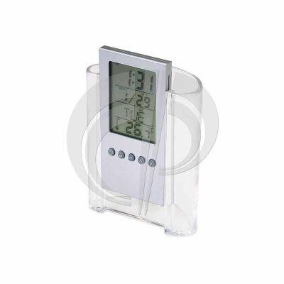 Color Plus Brindes - Relógio de mesa digital com porta lápis