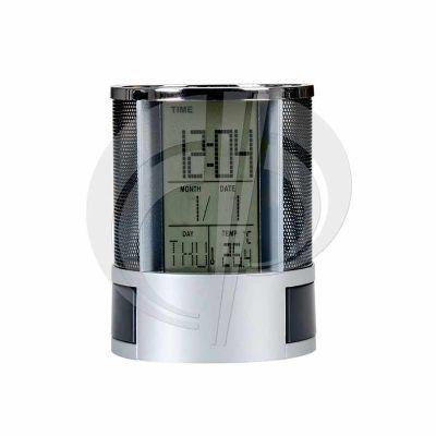 Relógio digital com porta canetas