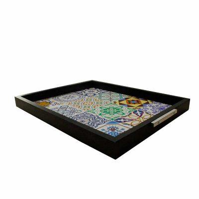 Decorex - Bandeja 37x30 Mold. Preta Imagem Azulejo Multicor