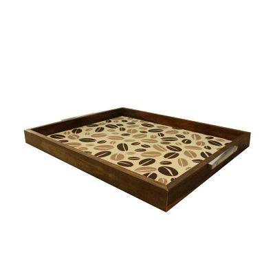 Decorex - Bandeja Decorativa (37x30cm) Moldura Rústica, Imagem Café - 9001 - Personalizável   Material: Moldura Pinus  Tamanho: 3 x 32 x 37 cm  (Altura x Largur...
