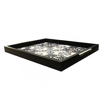 Decorex - Bandeja 37x30 Mold. Preta Imagem Azulejo
