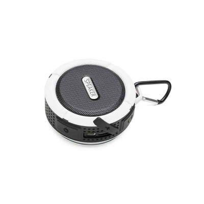 - Caixa de som bluetooth/wireless emborrachada à prova d água com ventosa, acompanha suporte com mosquetão. Segurar botão power para ligar e desligar, p...