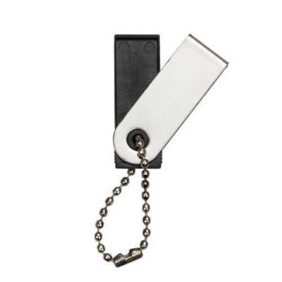 Blimp Brindes - Pen Drive com a carcaça de metal, acompanha corrente, e o suporte plástico preto.