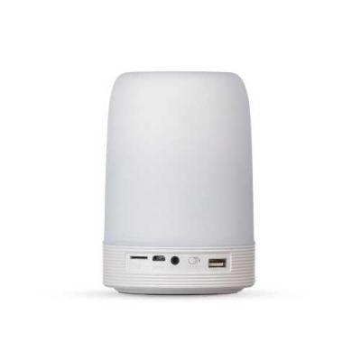 blimp-brindes - Caixa de som multimídia com luzes, suporte para celular e porta caneta. Material plástico resistente na cor branca fosca, parte superior com falante v...