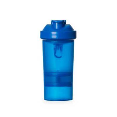 Coqueteleira 400ml plástica porta suplementos desmontável. Possui: copo 400ml (medida em ml e oz), compartimento com divisória para comprimidos, compa... - Blimp Brindes
