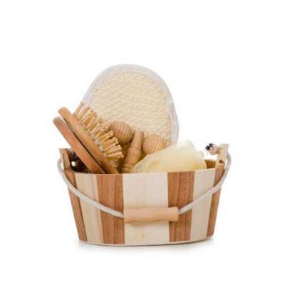 Kit banho de madeira com 5 peças