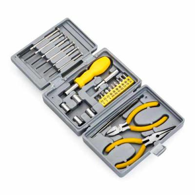 Kit ferramenta 25 peças em estojo plástico resistente texturizado. Possui 2 mini chaves de fenda ...