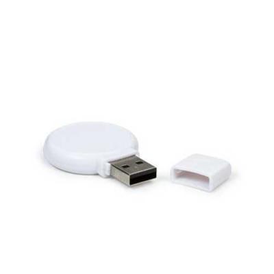 Blimp Brindes - Pen drive redondo 4gb em plástico resistente, parte central lisa de ambos lados. Possui tampa para proteção do USB.