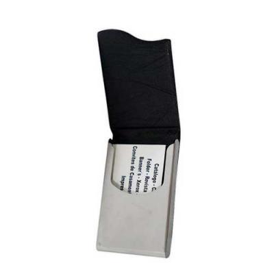 blimp-brindes - Porta cartão de couro sintético com abertura superior de imã. Metal prata espelhado, parte interna revestida de veludo.