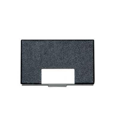 blimp-brindes - Porta cartão em couro sintético com detalhes em prata. Possui chapa central em metal para gravação, parte interna e traseira em alumínio.