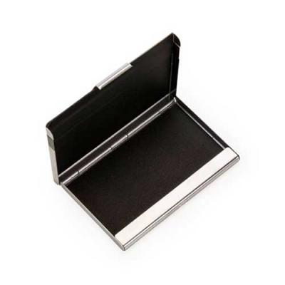 blimp-brindes - Porta cartão inox espelhado com uma faixa inferior na cor grafite. Parte interna com revestimento plástico preto.
