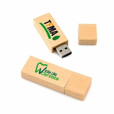 ALL PEN - Pen Drive Ecológico de Madeira com Tampa Personalizado, com capacidades de armazenamento de, 4, 8,16 e 32 GB. Gravação da logomarca em laser, tampogra...