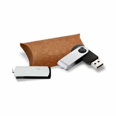 pesquisa-brindes - Pen Drive Giratório com embalagem em Kraft