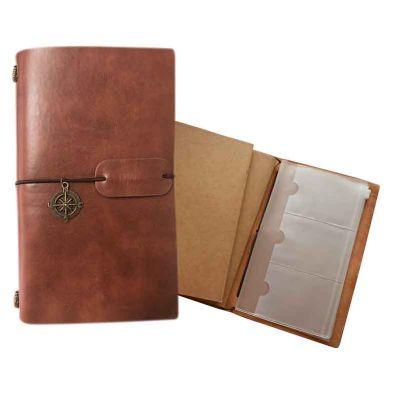 - Caderno diário de viagem personalizado Dimensões 200 x 120 x 22 mm Capa confeccionada em couro sintético Côres castor, preto, bege, cinza Com dois mio...