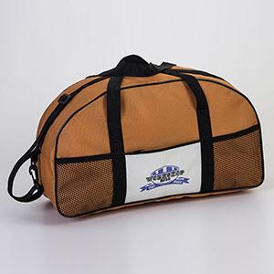 Jumas Produtos Promocionais - Mala de nylon 600, bolso frontal com zíper. Bolsos em tela alça de mão e ombro, vivo no acabamento. Medidas: 48 x 28 x 17 cm
