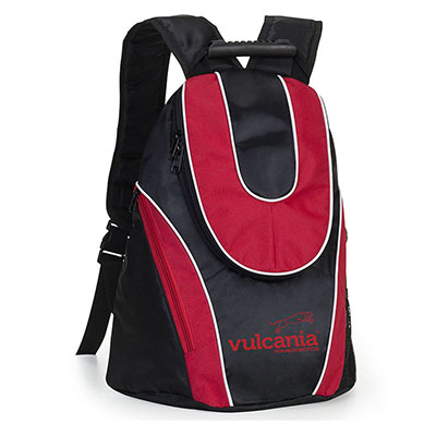 Jumas Produtos Promocionais - Mochila em nylon preto com recortes em nylon vermelho, zíper em u, bolso com zípe. 30larg x 43alt x 20