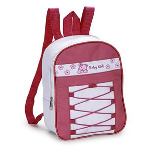 Jumas Produtos Promocionais - Mochila infantil em nylon 600 com zíper, cordão trançado na frente, alça dupla de ombro em cadarço.