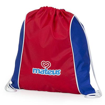 Jumas Produtos Promocionais - Mochila saco, nylon amassado, cordão duplo de ombro branco, recortes nas duas laterais, vivo no acabamento. 35larg x 40alt