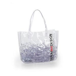 Jumas Produtos Promocionais - Sacola em PVC cristal com alça de silicone.