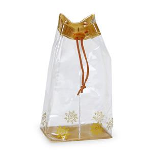 Mochila saco em cristal 020 com barra superior e fundo em alclear, cordão e olho de gato no fecho.