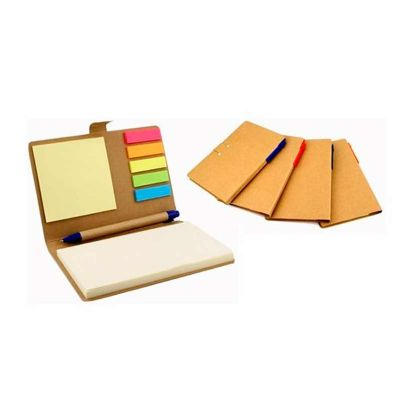 Bloco de anotação com sticky notes e caneta reciclável
