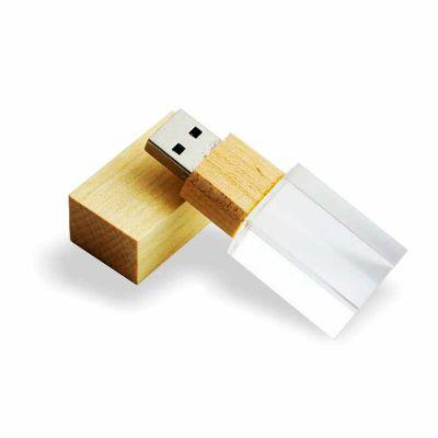 box-brindes - Pen drive de vidro ecológico com detalhe em madeira