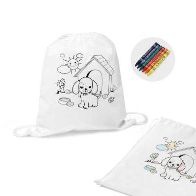 Projeto Promocional - Sacola tipo mochila para colorir kids