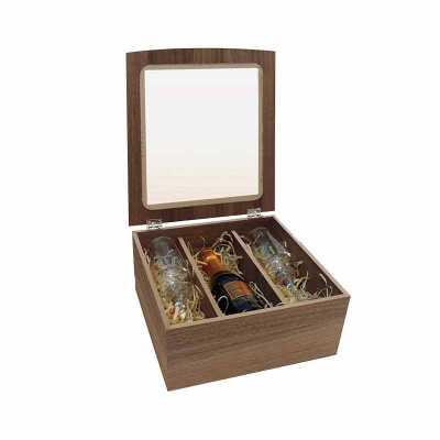 projeto-promocional - Caixa de Madeira porta Espumante e Taça de vidro de 210 ml. Este lindo kit traz inovação e qualidade para os amantes de Espumantes.  Perfeito para eve...