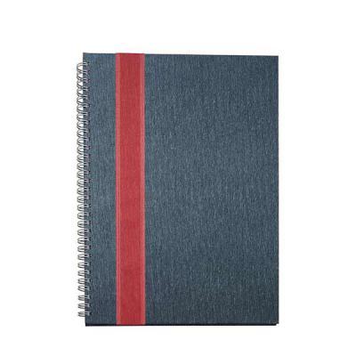 SOMA Brindes - Caderno grande com faixa lateral frontal e verso liso. Pintura texturizada e wire-o prata, possui: folha/envelope plástico, dados pessoais e comerciai...