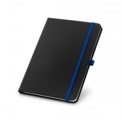 SOMA Brindes - Caderneta capa dura em couro sintético com porta caneta e 80 folhas pautadas.   Tamanho total aproximado (CxD): 9cm x 14cm