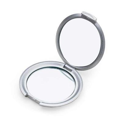 soma-brindes - Espelho redondo duplo sem aumento, material em plástico resistente com superfície ondulada. Tamanho total aproximado (CxD): 7,1 cm x 7,1 cm Peso aprox...