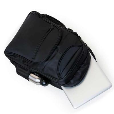 soma-brindes - Mochila poliéster para notebook com detalhes em nylon e neoprene. Possui compartimento grande com bolso interno, compartimento médio com bolso/suporte...