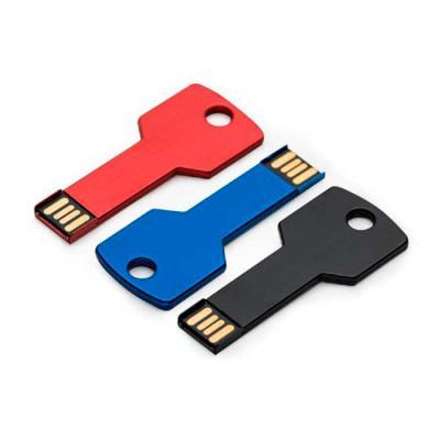 Pen drive alumínio formato chave.  Tamanho total aproximado (CxD): 6,3 cm x 2,4 cm  Peso aproximado (g): 5  * FAVOR INFORMAR SE DESEJA COM 4GB ou 8GB....