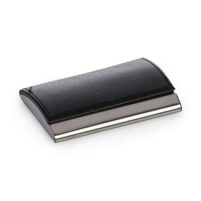 SOMA Brindes - Porta cartão em metal e couro sintético