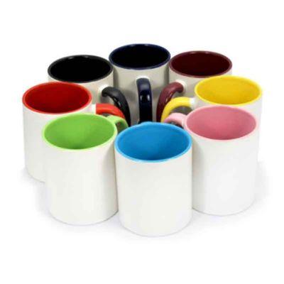 soma-brindes - Caneca de cerâmica 350ml branca com pegador e parte interna colorida.
