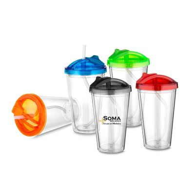 soma-brindes - Copo Plástico 470 Ml com Tampa e Canudo